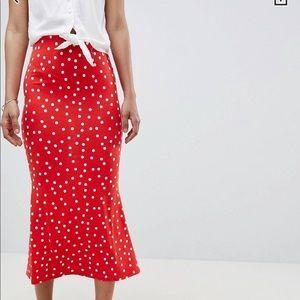 ASOS Kick Flare Polka Dot Midi Skirt